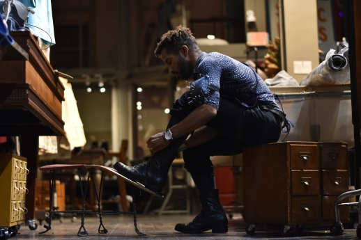 Nick Brentley laces up his boots at the end of his shift at Al's Attire in San Francisco, Calif., on Tuesday, Feb. 13, 2018. After closing the shop, Brentley occasionally works on personal projects, such as the recent polishing of his boots.