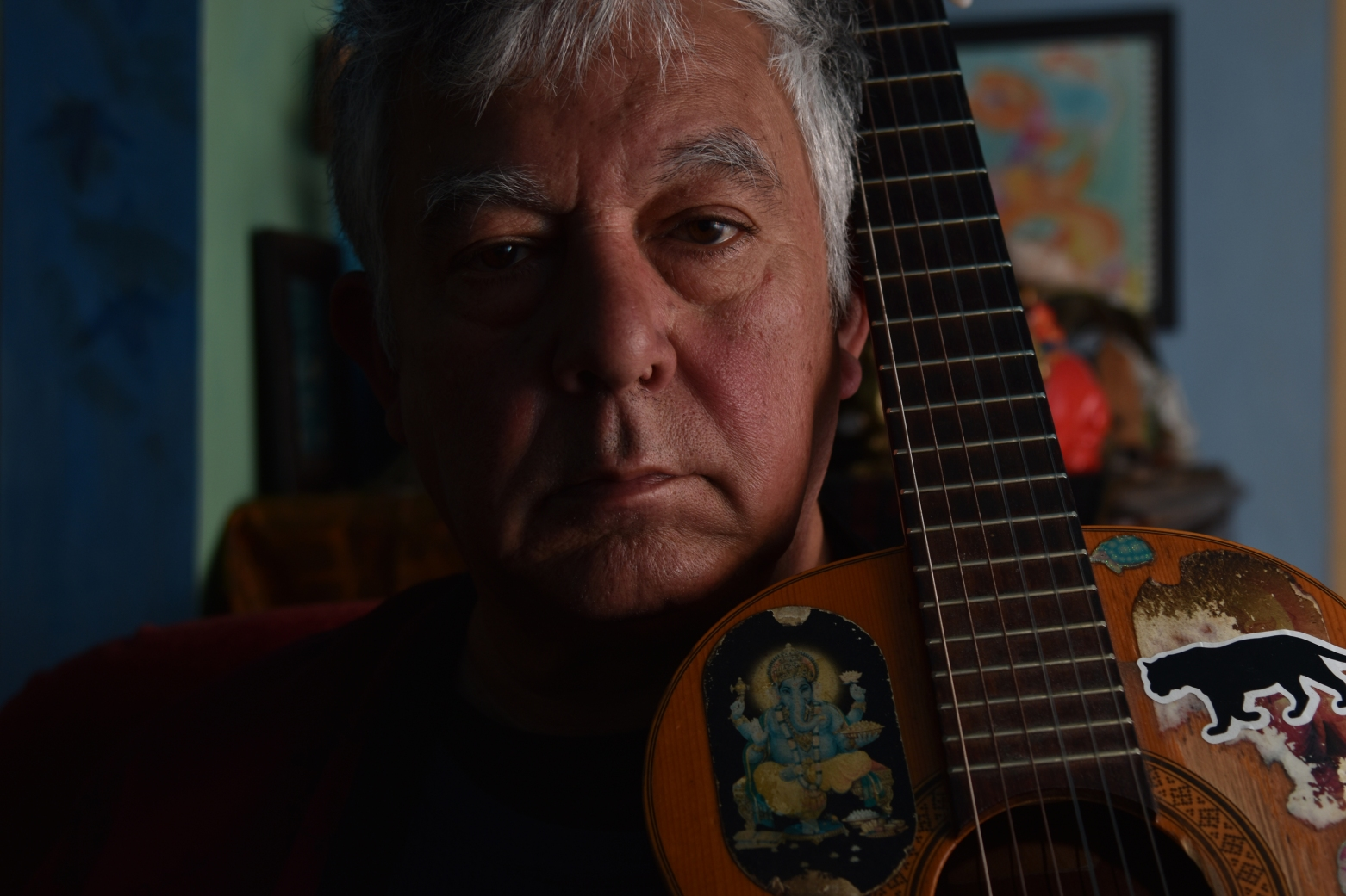 Musician and artist Jerry Ferraz poses for a photo at his home in San Francisco, Calif., on Saturday, April 7, 2018. (Boone Ashworth)